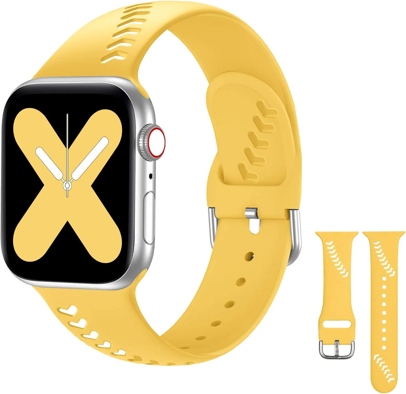 Doasuwish Compatible with Apple Watch Band 38mm 40mm, Soft Silicone Hollowed Baseball Pattern iWatch Bands Replacement Strap Compatible for Apple Watch Series 6/SE/5/4/3/2/1, Sport Edition, Yellow