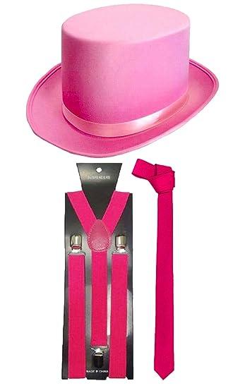 Rosa in Raso Top Hat Adulto Accessorio Costume Festa