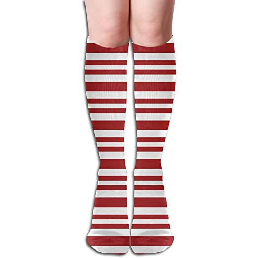 b5547ea3f Tube High Keen Sock Boots Crew Candy Cane Stripes Compression Socks Long  Sport Stockings at Amazon Women s Clothing store