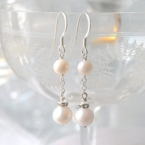 e3b2816b0 Image Unavailable. Image not available for. Colour: ENDLESS LOVE Vintage  Pearl & Diamante Drop Earrings