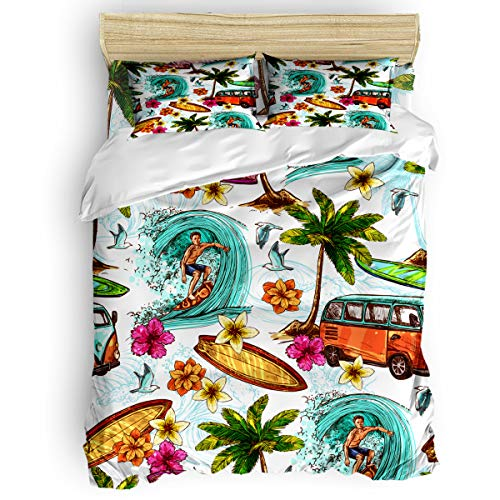Yogaly Home Bedding Set 4 Pieces Full Size for Adults/Teens/Children/Baby Watercolor Summer Camp Sea Beach Surfing Printed Bed Sheets, Duvet Cover, Flat Sheet, Pillow Covers (Surfing Baby Bedding)