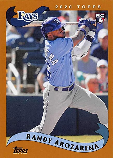 amazon com 2020 topps archives baseball 2002 design 213 randy arozarena rc rookie tampa bay rays official mlb trading card collectibles fine art 2020 topps archives baseball 2002