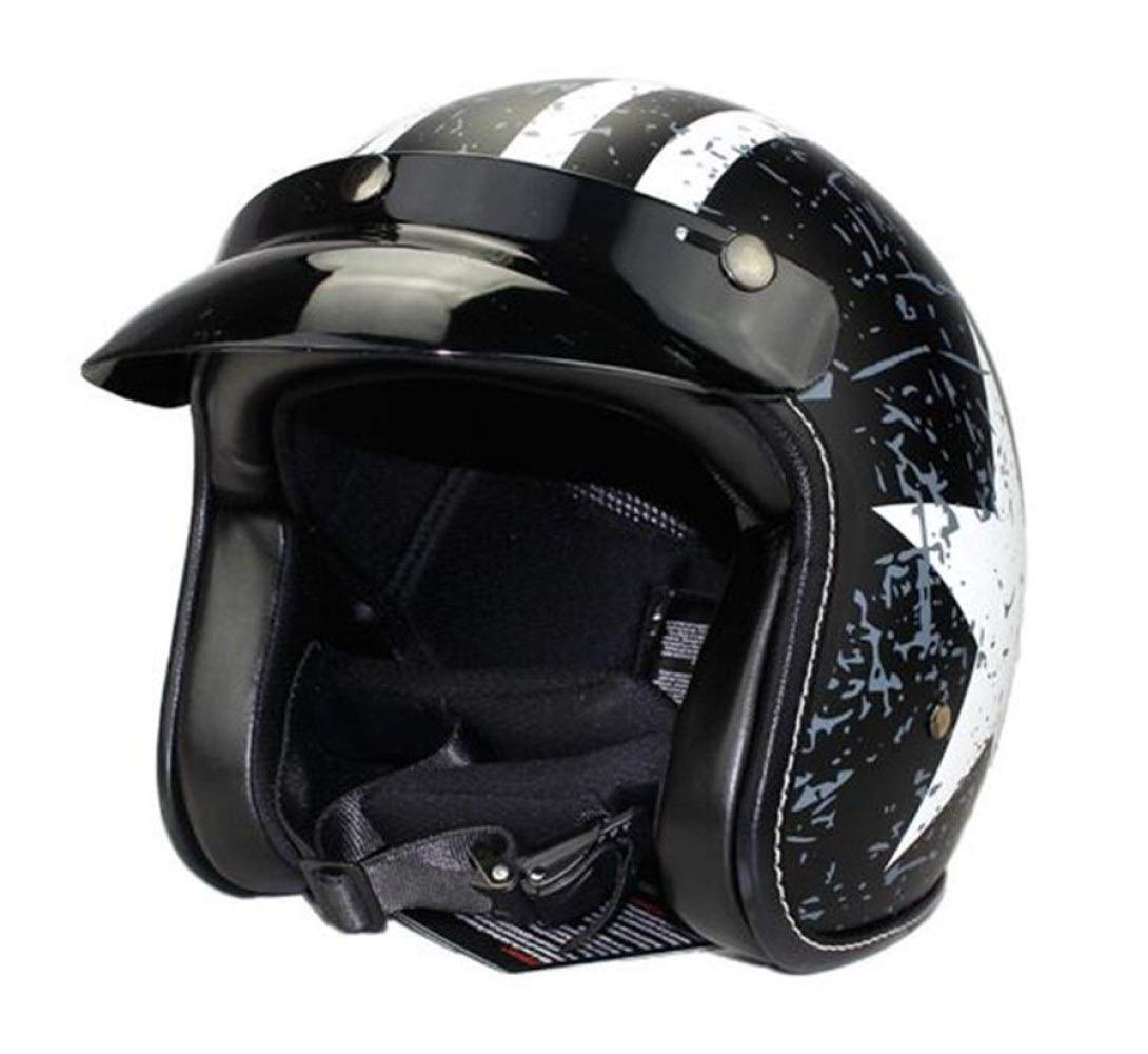 Kiiya-Auto Capit/án Am/érica Harley Medio casco casco de la motocicleta cuatro estaciones unisex de comercio electr/ónico Cabeza Color : Steelblue bottom white star-S