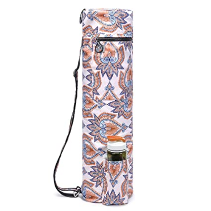 455716bc0fec ELENTURE Waterproof Yoga Mat Carry Bag with Storage Pockets and Water  Bottle Holder(380T Beige