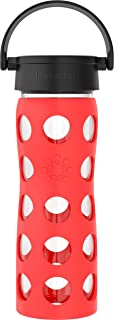 product image for Lifefactory 16-Ounce BPA-Free Glass Water Bottle with Classic Cap and Protective Silicone Sleeve, Poppy