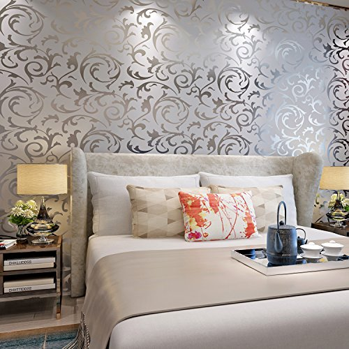 HANMERO Victorian Damask Embossed Textured Pattern Vinyl Wallpaper Environmental Protection Long Murals Rolls for Living Room/Bedroom/TV Background Home Decor- Silver Gray 20.86'' x 393.7'' ()