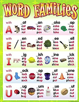 teacher created resources word families chart amazon ca office