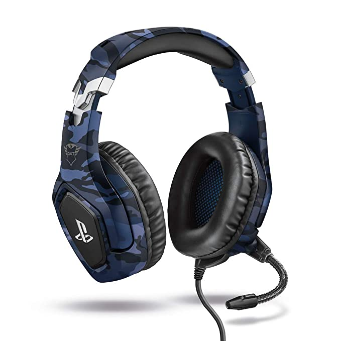 Trust Gaming GXT 488 Forze Auriculares gaming con licencia oficial PlayStation 4 con micrófono plegable y diadema ajustable, color azul, Normal