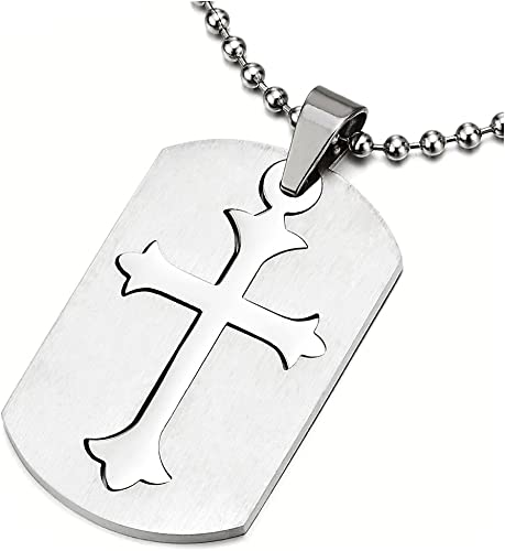 Mens Jewelry Dog Tag Stainless Steel Silver Pendant Necklace Square Box Chain