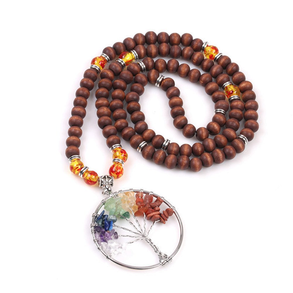7 Chakra Gemstone Tree of Life Mala Beads Meditation Prayer Wood Beads Necklace Multilayer Bracelet YML NQML-004