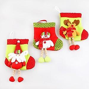 M-Egal Lovely Christmas Stocking Santa Claus Deer Snowman Hanging Decoration Sock Bag Santa Claus
