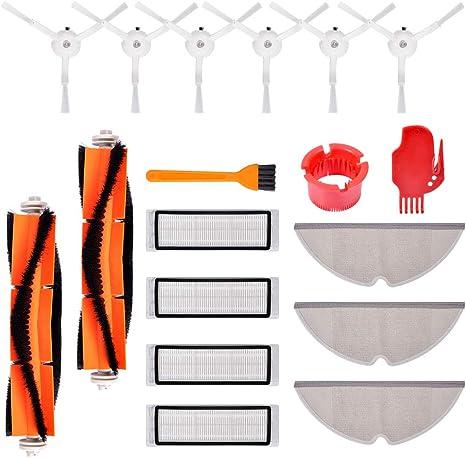4 filtres HEPA 2 Mopping chiffon 2 brosse principale 6 brosses lat/érales Accessoires pour le robot aspirateur Xiaomi Mi 2 outils de nettoyages