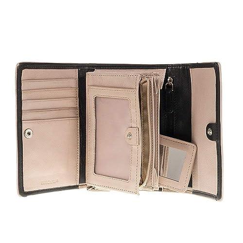 24be033a38 Portafoglio Donna nero e taupe 4 scomparti porta documenti vera pelle Made  in Italy Tuscan's