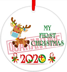 "SICHOME Baby's First Christmas Ornament 2020,3"" My First Quarantine Christmas,Cute Elk Christmas Ornament for New Born Baby Boy Girl, Parents and Grandparents"