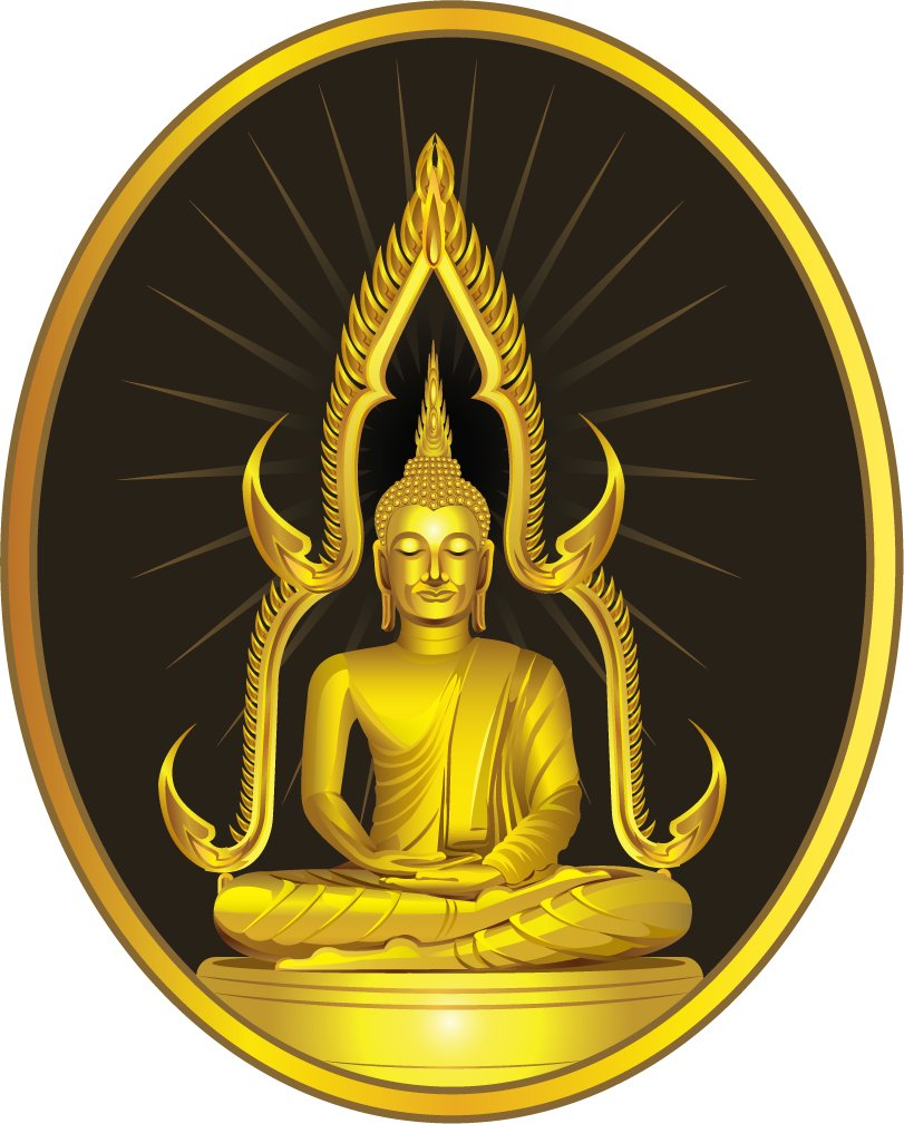 Thai Sitting Buddha Statue Label Home Decal Vinyl Sticker 11'' X 14'' by innagrom