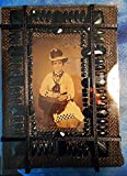VICTORIAN STEAMPUNK REVISITED! 150 yr Old Tintype of Woman in Ooak Hat & 9 Pieces of Jewelry. Antique Victorian Black Jet Glass Bead Framed on Stand Wrought Iron Stand. ONE OF A KIND!