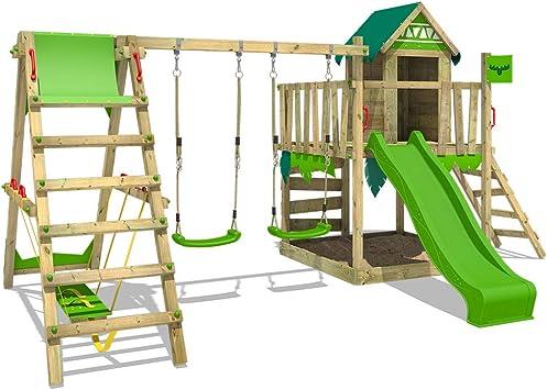 FATMOOSE Parque infantil de madera JazzyJungle con columpio SurfSwing y tobogán verde manzana, Casa de juegos de jardín con arenero y escalera para niños: Amazon.es: Bricolaje y herramientas