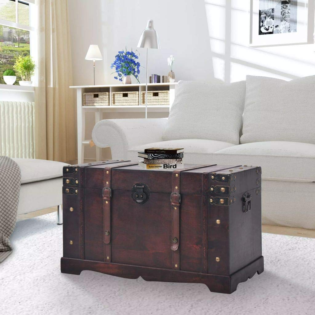 Wooden Storage Trunks, 25.98x14.96x15.75 inch Wood Made Pirate Treasure Chest Wooden Iron Lock Leather Chest with Latches Box for Antique-Style Storage Decorative Keepsak Chest by Heitamy