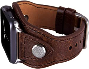 Konafei Compatible with Apple Watch Band 44mm 42mm iwatch Series 6/5/4/3/2/1/SE, Leather Metal Cuff Bracelets Retro Strap for Men Women (Coffee, 42/44mm)