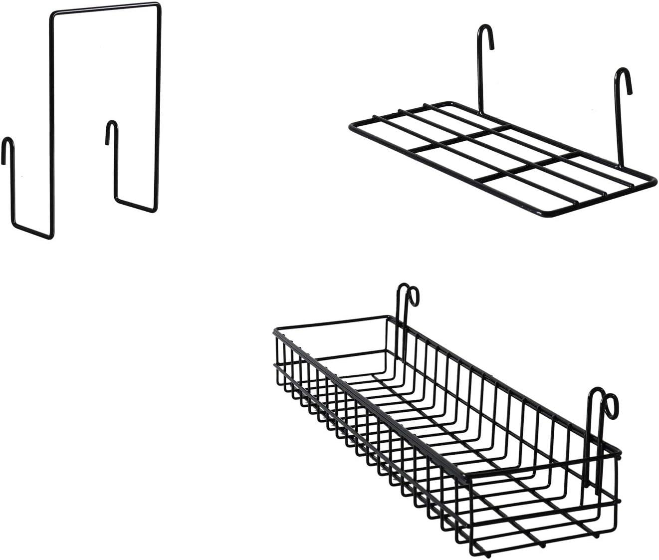 FRIADE Wall Grid Panel Hanging Basket with Hooks,Bookshelf,Display Shelf,Wall Organizer and Metal Shelving for Home Supplies,1 Set of 3 (Black)