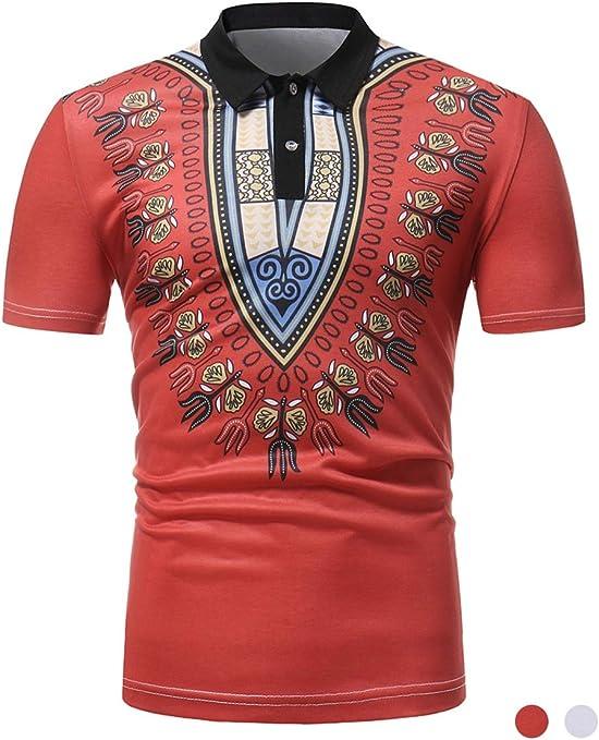 Adidase Camisa Polo de Solapa de los Hombres,Camisa de Manga Corta Estilo Africano Tus Camisa Polo Impreso Casual: Amazon.es: Deportes y aire libre