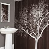 Pink Ombre Ruffle Shower Curtain Splash Home Tree Polyester Fabric Shower Curtain, 70