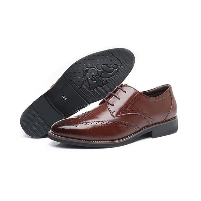 LYZGF Hommes Gentleman Printemps Eté D'affaires Casual Mode Extra Taille Retro Lacets Chaussures En Cuir,Black-38