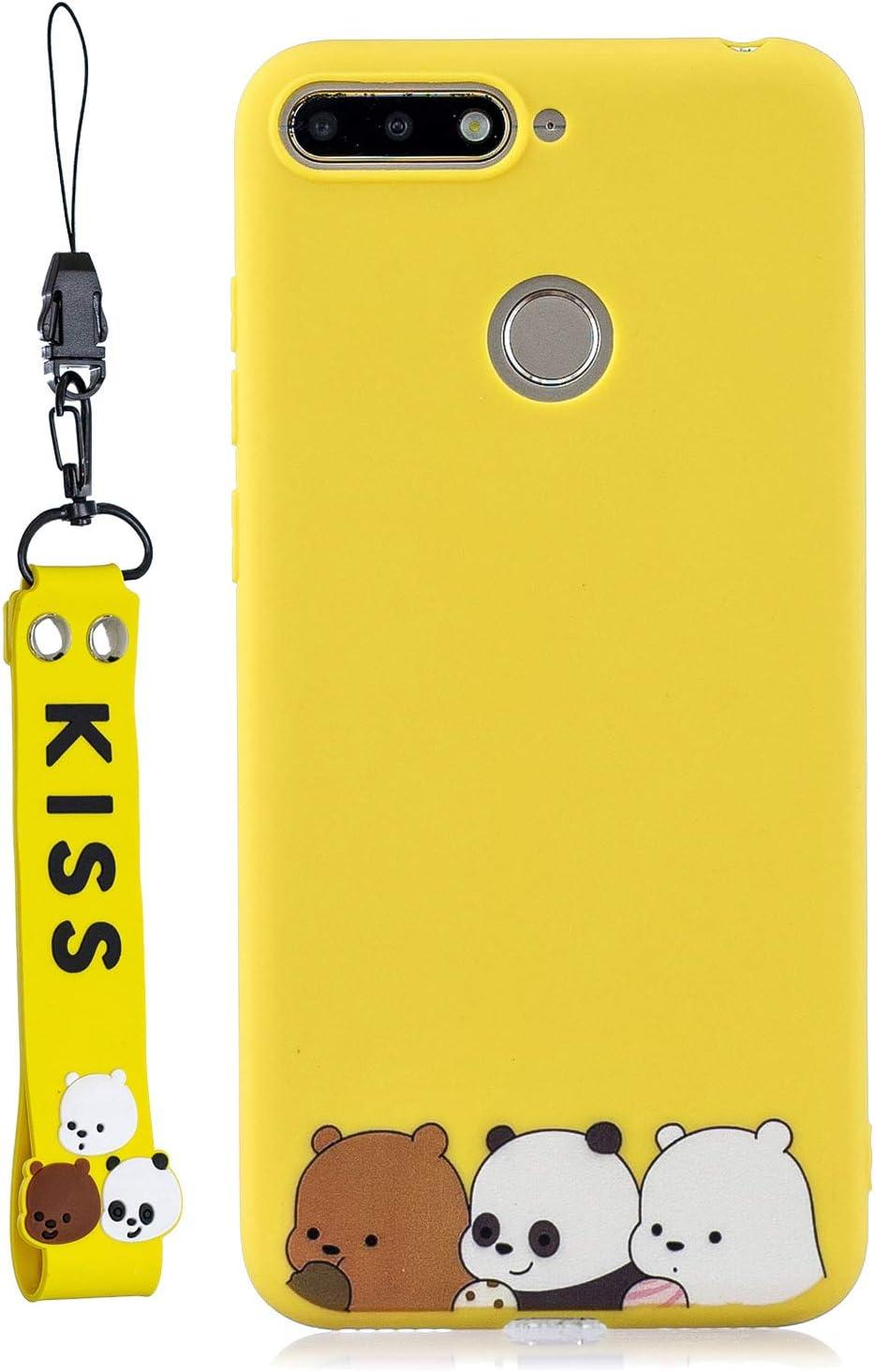 Bigcousin Funda con Cuerda Compatible con Huawei P10,Transparente de TPU con Ajustable Collar Cadena Cord/ón,Multicolor