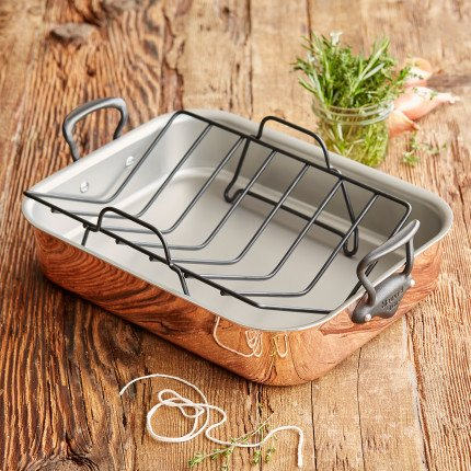 Mauviel 6687.4 Cookware Jacques Pepin Collection. Roasting Pan, 16 x 12 in, 9.8qt/16x12, Copper