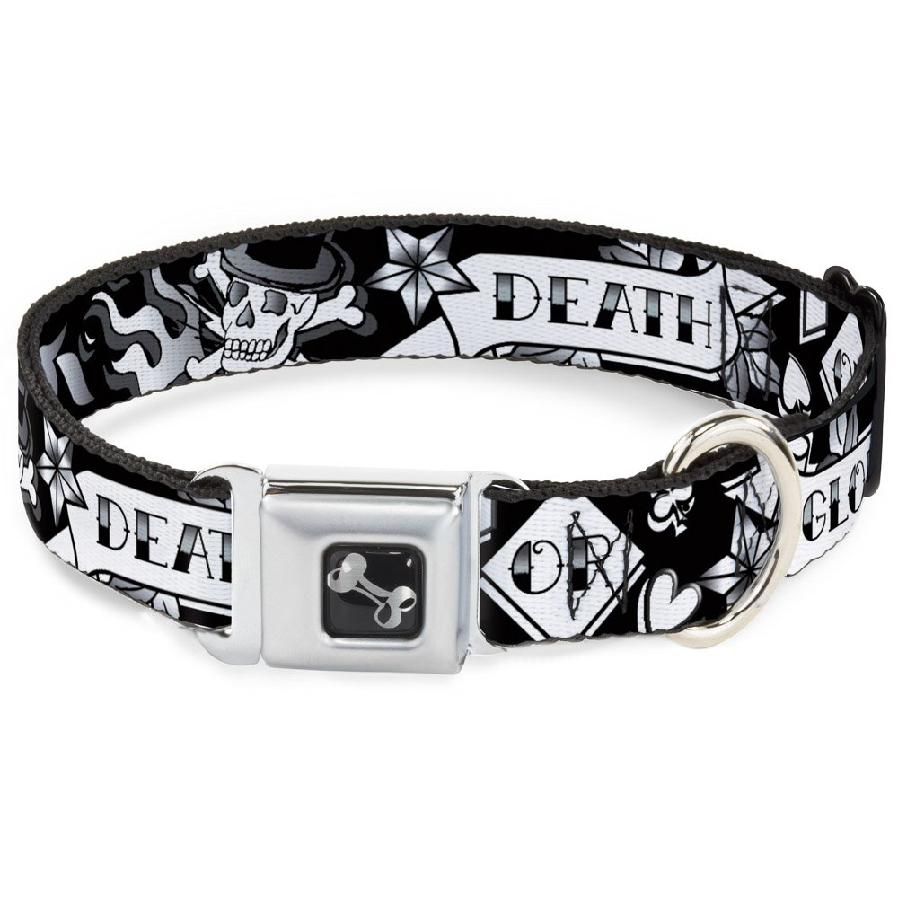 Buckle-Down Death Or Glory Black White Dog Collar Bone, Medium 11-17