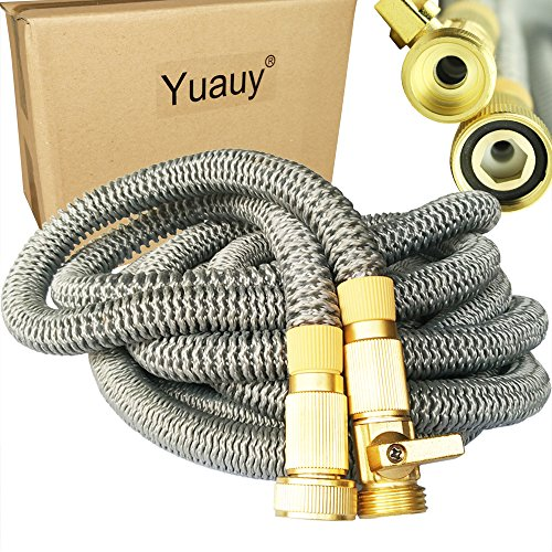 Yuauy 50FT Expanding Hose Premium Quality Strongest Expandable Garden Hose on the Earth Solid Brass Ends Double Latex Core Extra Strength Fabric New