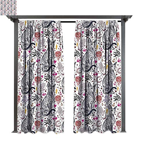 Egyptian, Exterior/Outside Curtains, Traditional Tattoo Pattern with Gothic Magic Icons Witchcraft Symbols Kitty Hands, for Patio Light Block Heat Out Water Proof Drape (W96 x L108 Inches Multicolor)