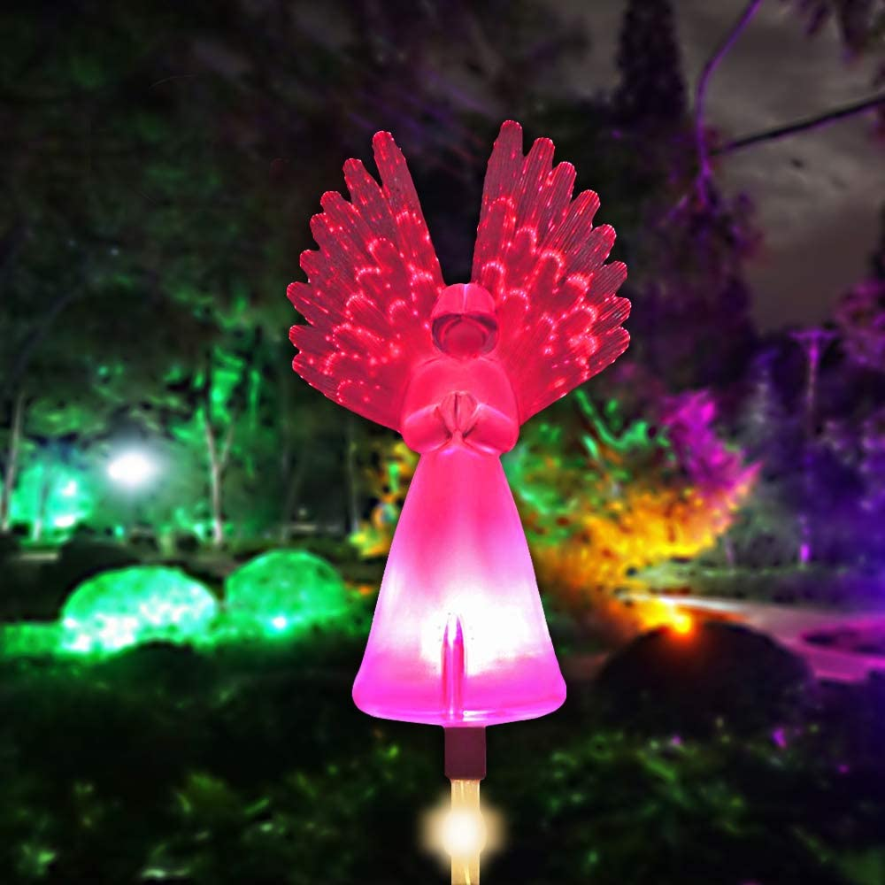 Greenke Outdoor Solar Garden Stake Lights Solar Angel for Cemetery Grave Yard Patio Decoration Multi-Color Changing Led Lawn Light Memorial Gifts Pathway Lamp Optic Fiber Wings