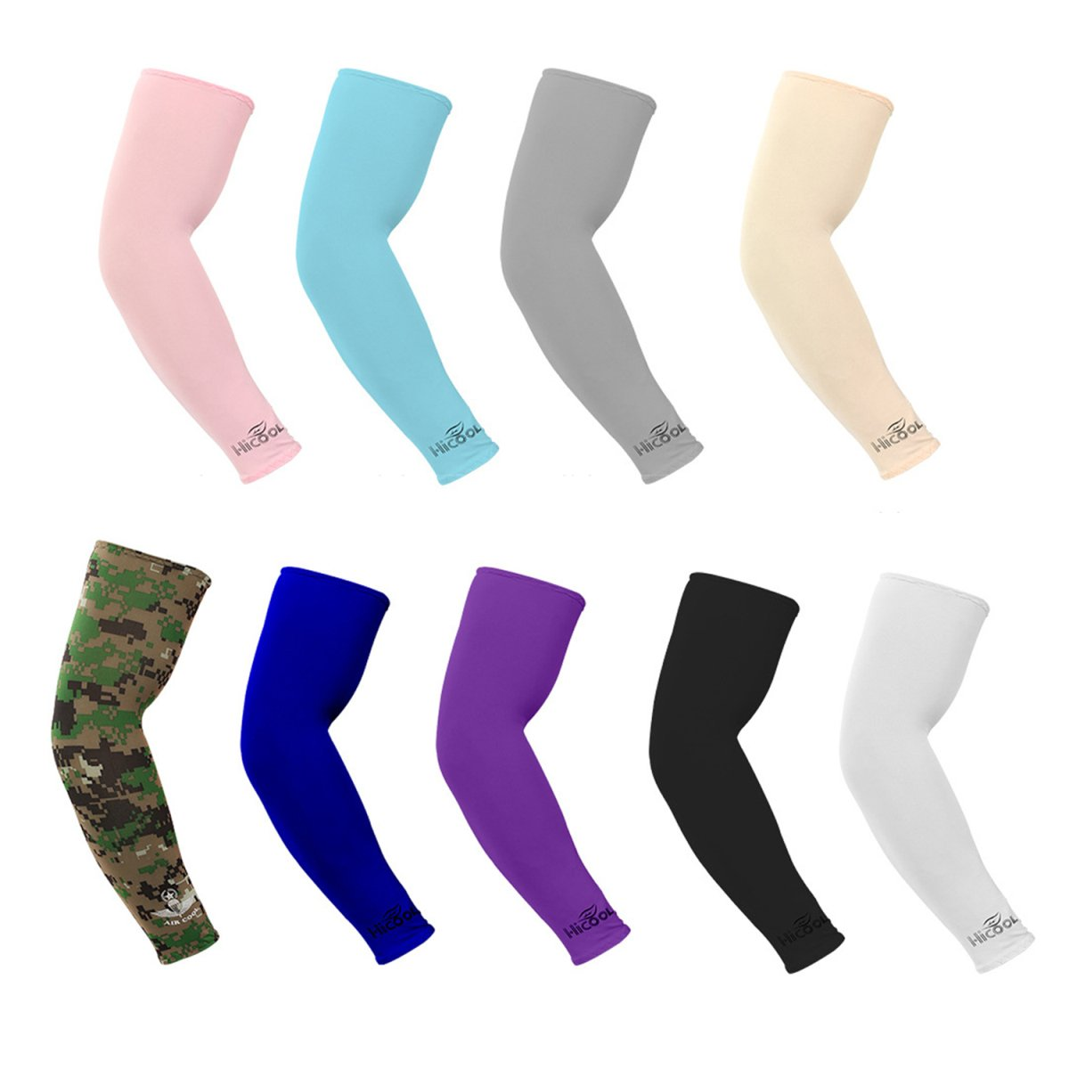 HONGTENG 9 pair Unisex UV Protection arm sleeves compression &cooling cover sleeves for Cycling/Golf/Basketball/ other sports
