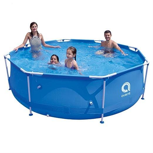 LRKJ Tu familia piscina piscina azul estructura de acero piscina jardín piscina piscina piscina infantil: Amazon.es: Jardín