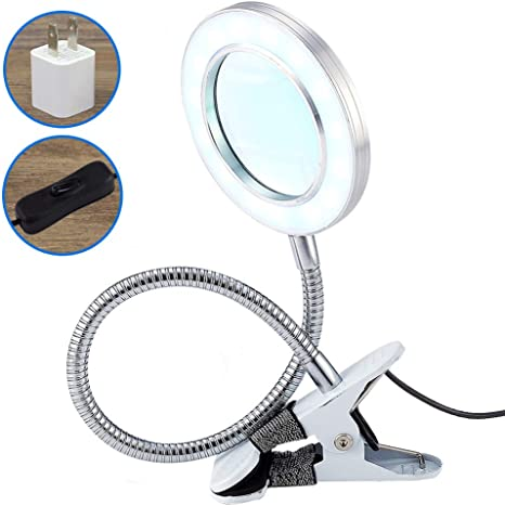 Flexible Magnifying Glass with LED Lights and Metal Clamp Heavy Duty NEW