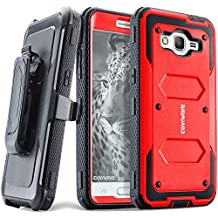 COVRWARE® Samsung Galaxy Grand Prime / Go Prime Case - [Aegis Series] Heavy Duty Dual Layer Hybrid Full-Body Armor Belt-Clip Holster Case [Kickstand] w/ Front Cover Built-in Screen Protector - Red