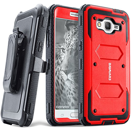 COVRWARE Samsung Galaxy Grand Prime/Go Prime Case - [Aegis Series] Heavy Duty Full-Body with Built-in [ Screen Protector ] Rugged Holster Armor Case & Belt Swivel Clip [Kickstand] - Red