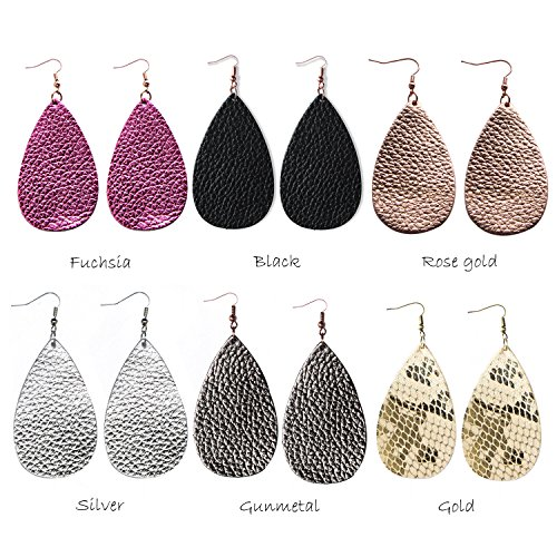 Genuine Leather Earrings 3 Pairs Silver Black Gunmetal Metallic Leather Teardrop Dangle Earrings Set for Women Girls by Me&Hz (Image #5)