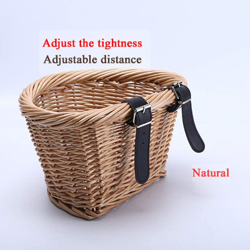 CLISPEED Wicker Bike Basket Rattan Willow Hand Woven Front Handlebar Bicycle Basket Detachable Bicycle Accessories