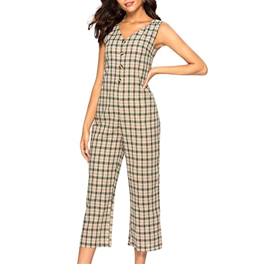 290549fb0aa Amazon.com  Kalinyer Womens Jumpsuits Casual Lattice Button Deep V Neck  Sleeveless High Waist Wide Leg Jumpsuit Rompers Outfits  Clothing