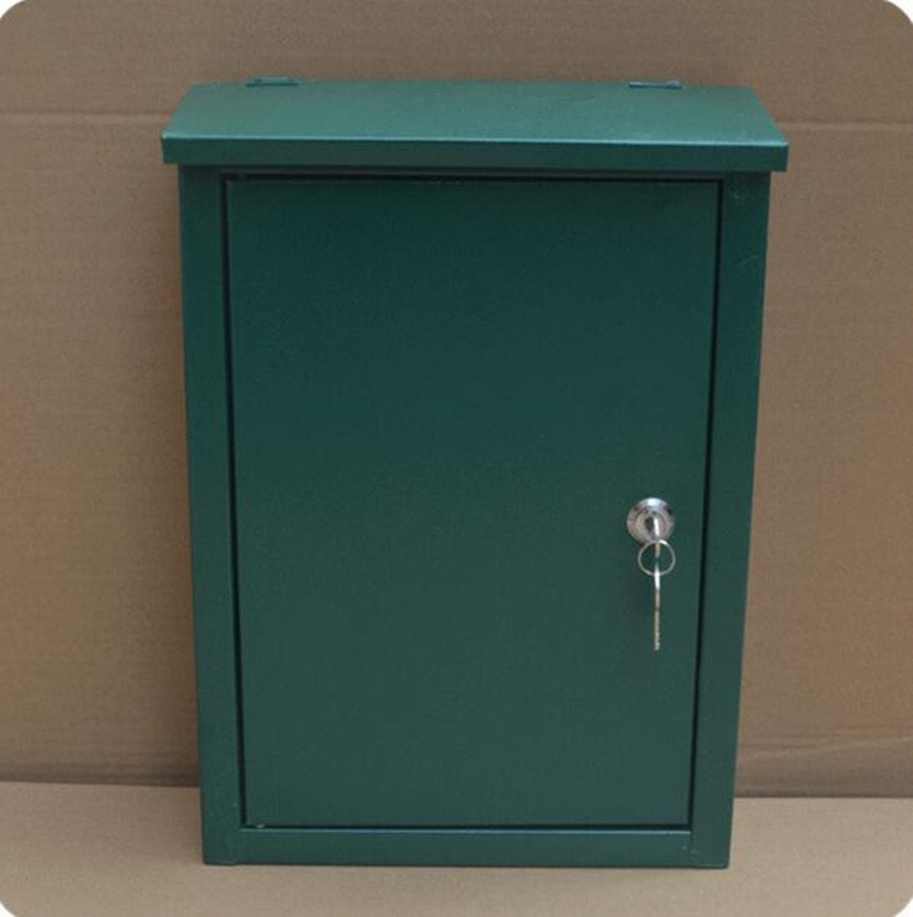 Green mailbox Outdoor rainproof newspaper box Padded metal mailbox Newspaper delivery box with lock