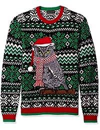 Men's Festive Owl Crew Neck Ugly Xmas,