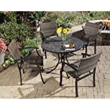 Home Styles 5601-3081 Stone Harbor 5-Piece Outdoor Dining Set, Slate Finish
