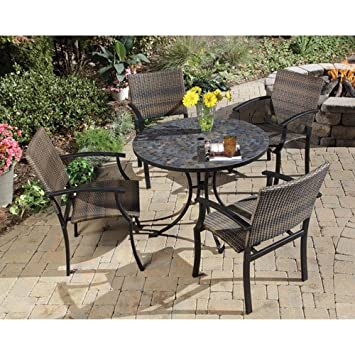Home Styles 5601 3081 Stone Harbor 5 Piece Outdoor Dining Set, Slate Finish