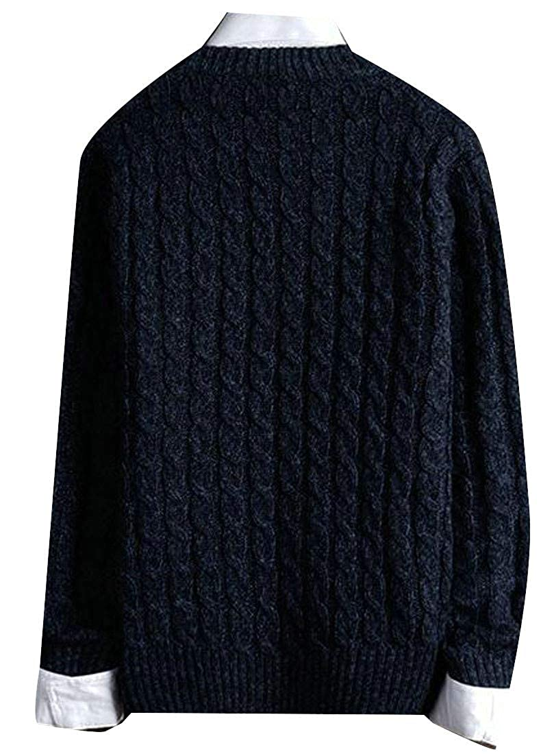Cromoncent Mens Solid Woven Long Sleeve Crewneck Knitted Pullover Jumper Sweaters