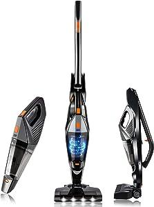 Cordless Vacuum, Hikeren Stick Vacuum Cleaner, Powerful Lightweight 2 in 1 Handheld Vacuum with Rechargeable Lithium Ion Battery for Hardwood Floor Carpet Pet Hair, Black