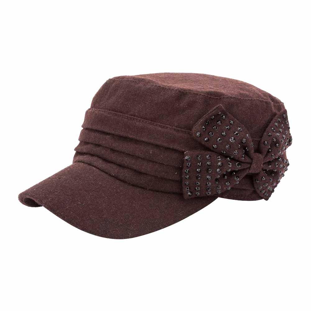 Q& Y Yq Women's Winter Wool Military Hats Cadet Caps