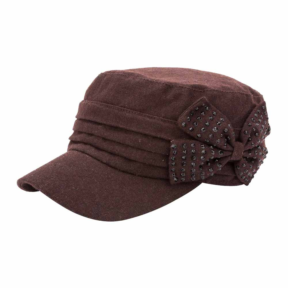 QY YQ Women's Winter Wool Military Caps With Bow Cadet