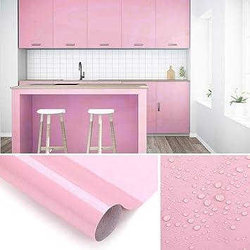 KINLO Aufkleber Küchenschränke rosa 61x500cm aus hochwertigem PVC  Küchenfolie Klebefolie Tapeten Küche selbstklebende Folie Küche wasserfest  Aufkleber ...